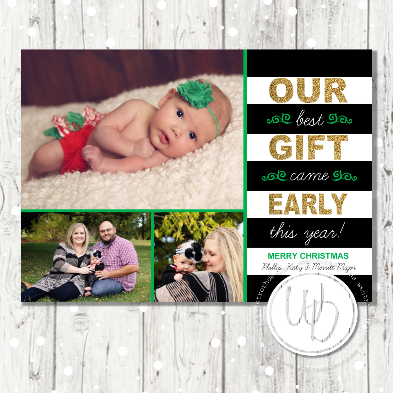 Gold Glitter And Striped Birth Announcement Christmas Card By