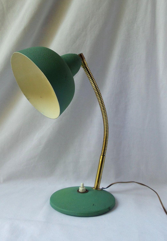 Lampe De Bureau Vintage 1950 Lampe Metal Verte Sur Pied Metal Lamp Lamp Retro Decor