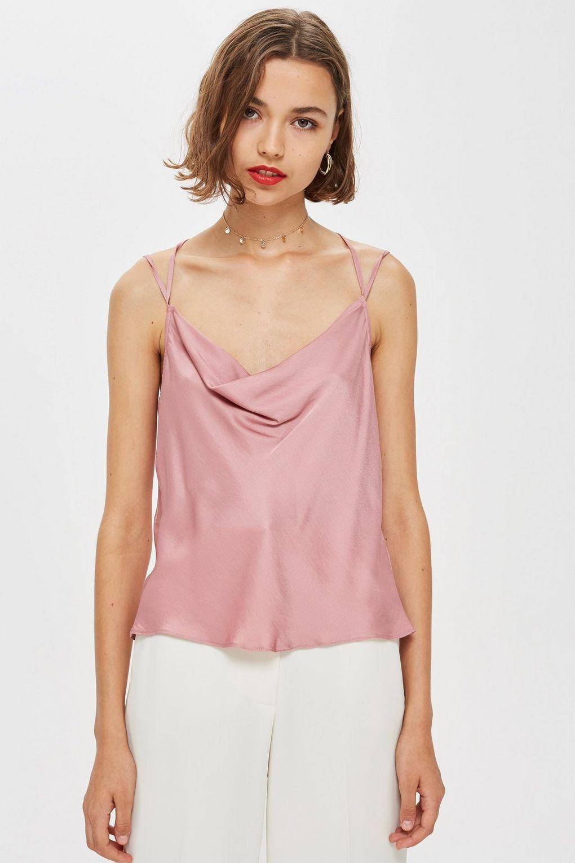 5b872e4cbf92 Satin Cowl Neck Cami Top | Camisoles / Vests | Lace top outfits ...