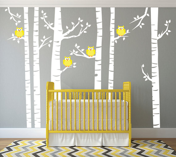 Yellow Owls and White Birch Tree Forest Wall Decal, Birch Tree Wall ...
