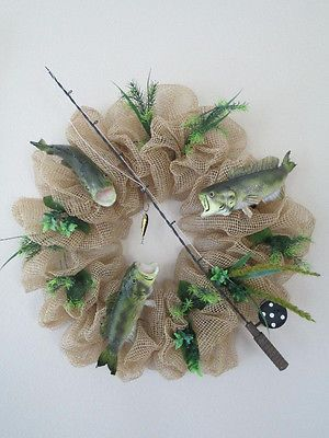 Poly Deco Mesh Fisherman Bass Fish Mancave Man's Fishing Wreath | eBay