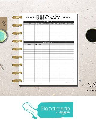 printed bill payment tracker for the happy planner account tracker