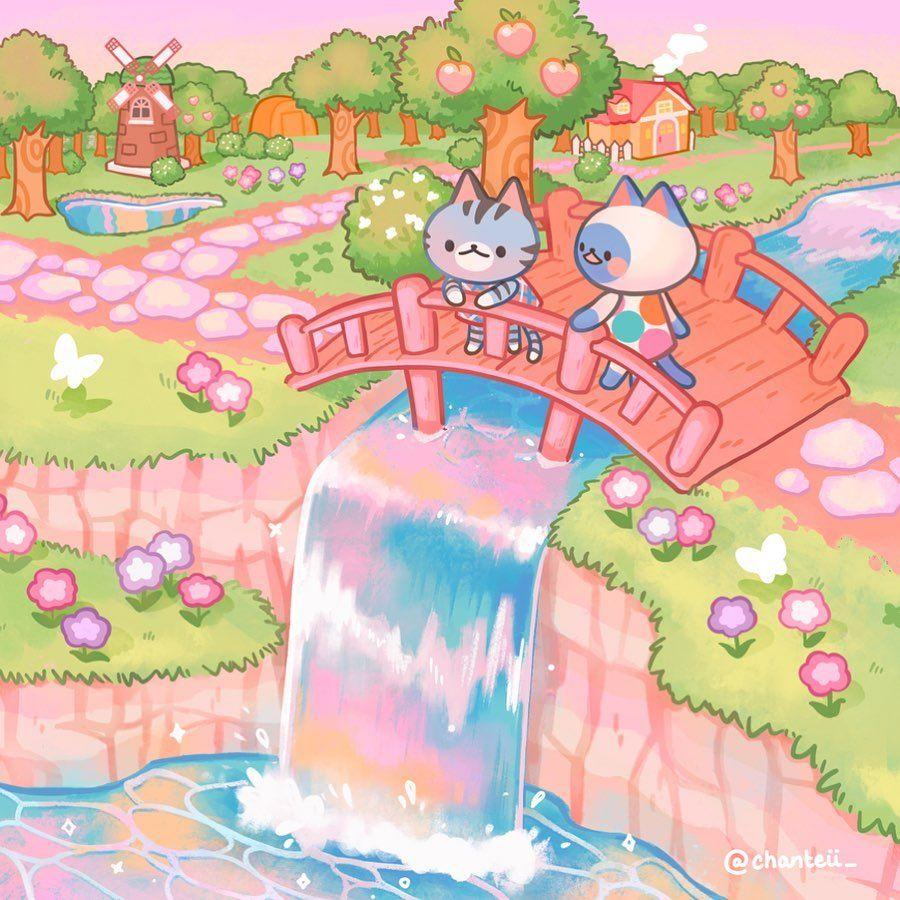 """Photo of 🌷 Mantequilla al gato 🌷 en Instagram: """"🌼 Lovely Day Animal Crossing 🌸. Hola frens Estoy muy orgulloso de esta pieza ^ u ^ Me imagino que Lolly y Mitzi la pasaron muy bien … """""""