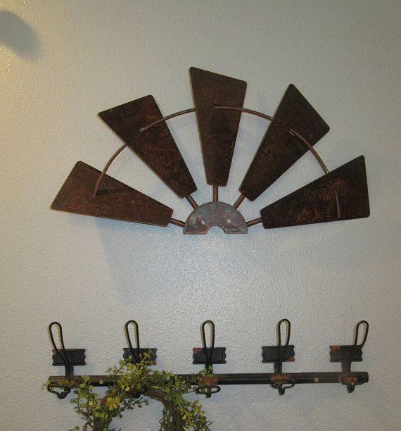 24 Inch Half Windmill Head Rusty Metal Rustic Farmhouse Windmill