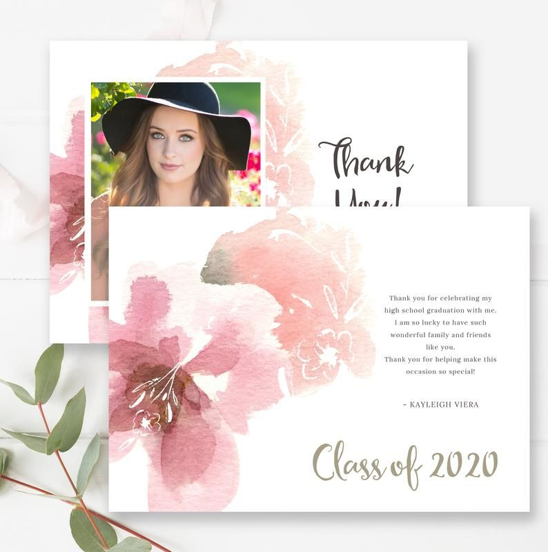 Floral watercolor graduation thank you card template