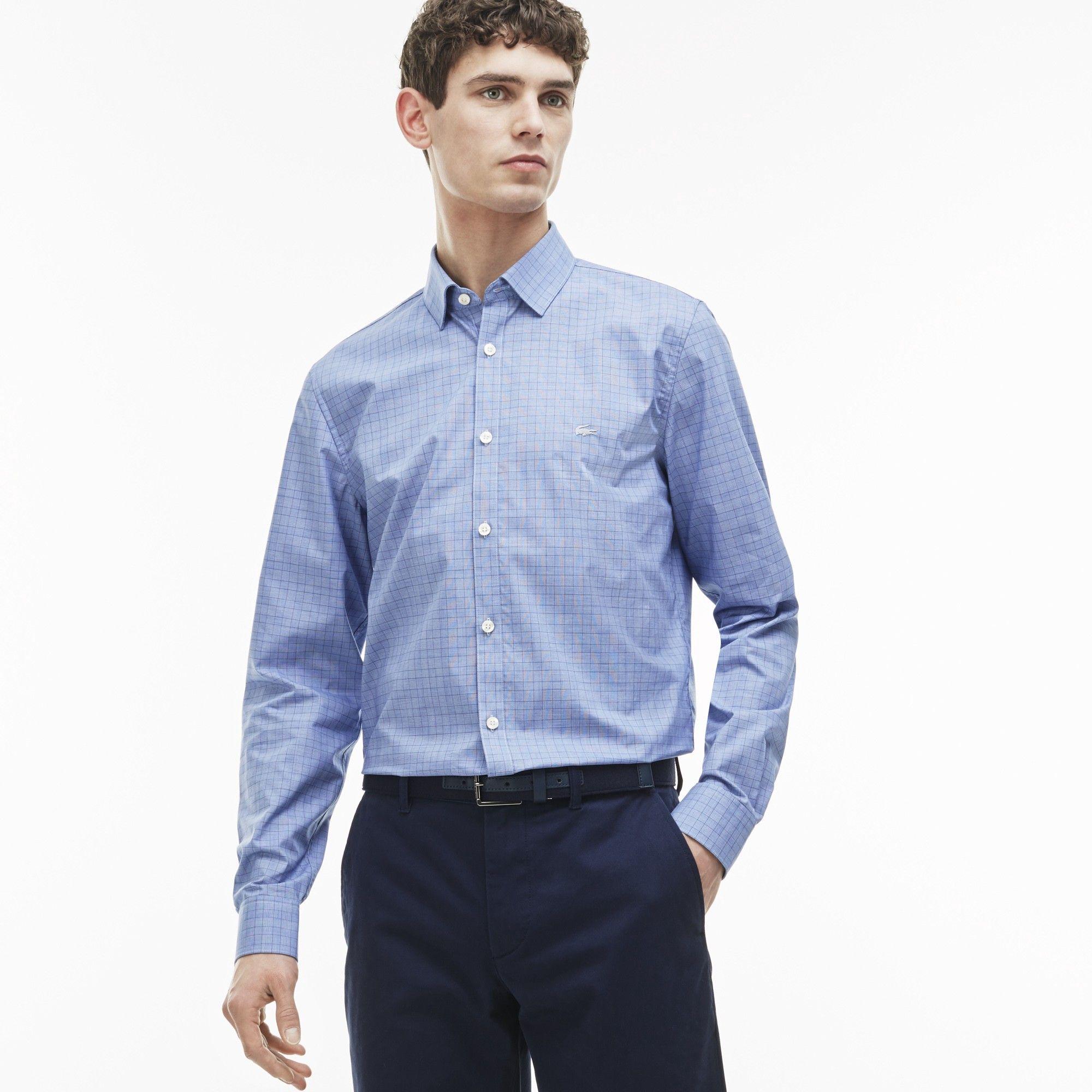 108608fd107e26 LACOSTE Men s Slim Fit Glen Plaid Poplin Shirt - methylene steamer-white.   lacoste  cloth