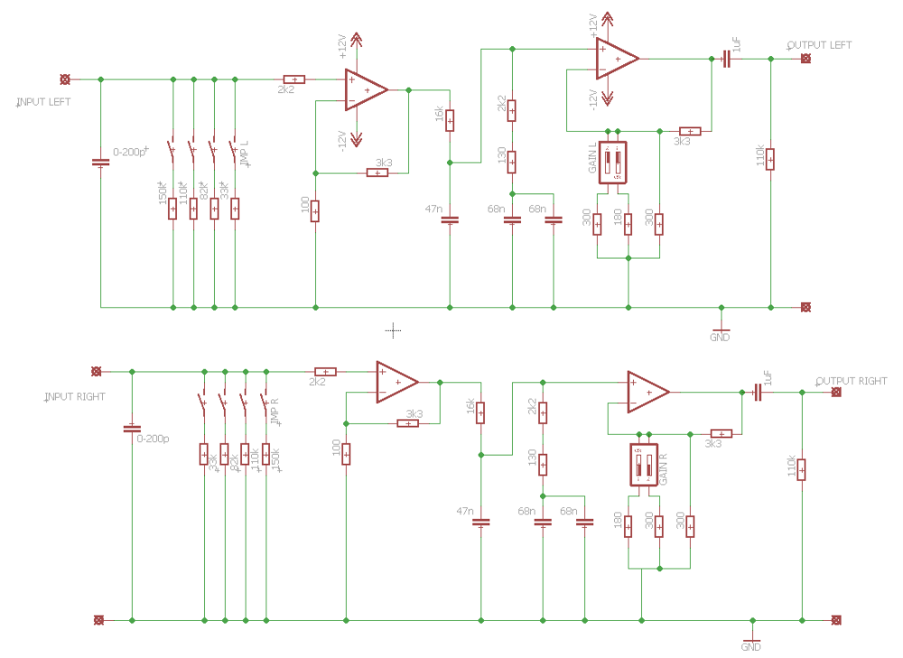Schematic for the Muffsy Phono Preamp PP-3 Rev A | riaa preamplifier