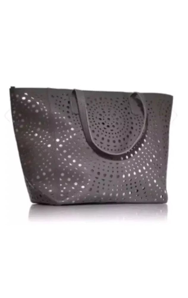 aea25f02ce Bath Body Works Gray Tote Bag Metallic Large Purse VIP Handbag Shoulder Zip  Top