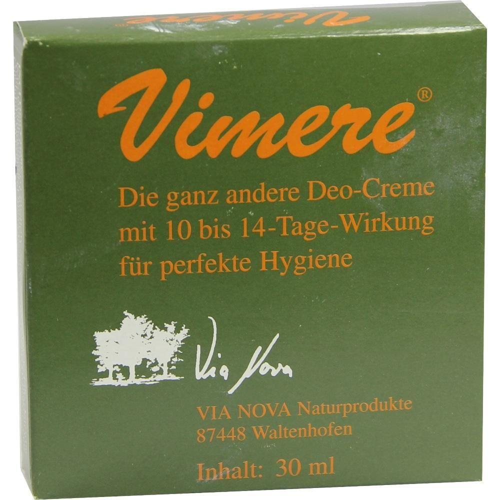VIMERE Deo Creme:   Packungsinhalt: 30 ml Creme PZN: 04991737 Hersteller: Hirt VIA NOVA Naturprodukte Preis: 15,68 EUR inkl. 19 % MwSt.…