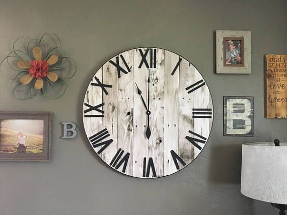 30 Large White Farmhouse Pallet Clock Oversized Wooden Rustic