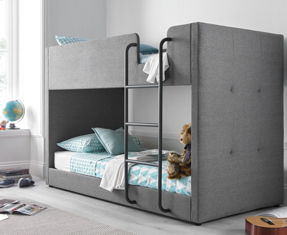 Saturn Grey Fabric Bunk Bed 3ft Single In 2020 Bunk Beds Grey