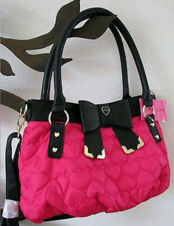 Betsey Johnson Pink Quilted Heart Bow Tied Satchel Crossbody Bag Nwot In Handbags Purses Ebay