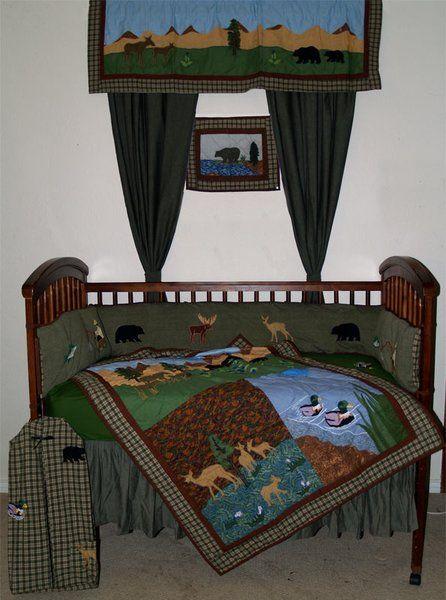 Nursery crib 6 piece set.Colorful ducks, deer,moose,bears.   Windowpane & Brick