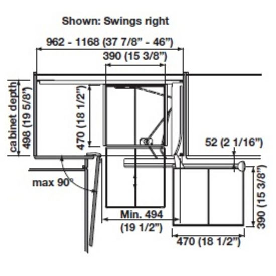 Right Hand Mounting Specs Blind Corner Cabinet Kitchen