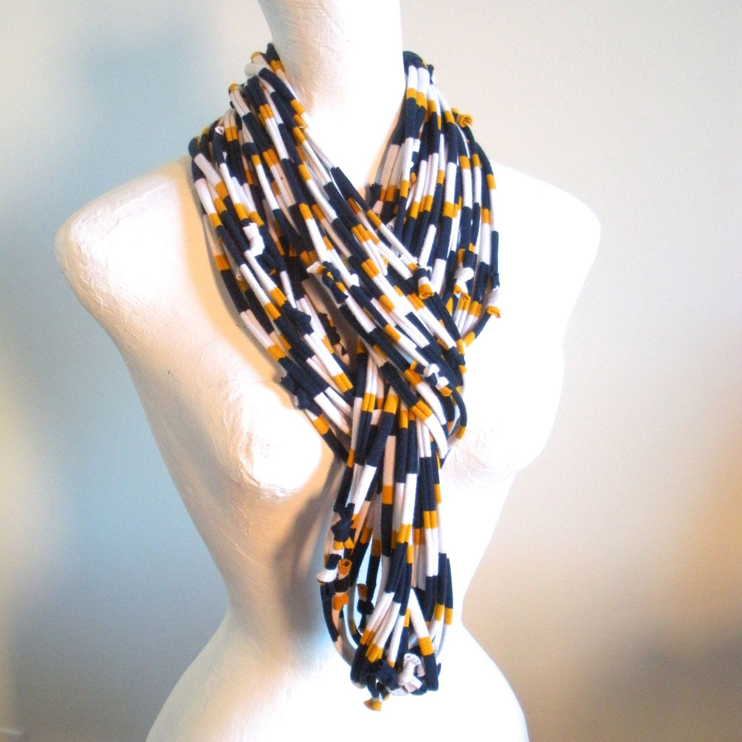 Navy Blue Gold White Infinity Scarf Eco-Friendly Fall Fashion Sport Notre Dame BYU USNA Upcycled Cowl Scarf Warm Winter Scarf Gifts Under 75. $50.00, via Etsy.