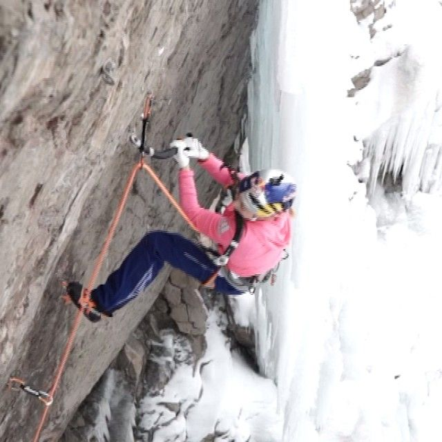 """It's a long way to the top. @sashadigiulian learning to ice climb. @adidasoutdoor #openallwinter"""