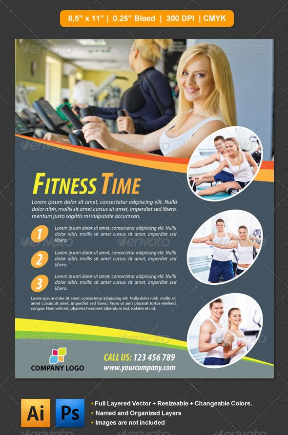 HD Decor Images » Fitness Flyer   Pinterest   Flyer template  Template and Print templates Fitness Flyer by barisintepe Fitnes Flyer is ideal for promotion of your gym  centers  All design items are vectorial and easily editable   resizeable