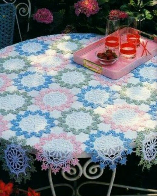1 of 2  Crochet Tablecloth