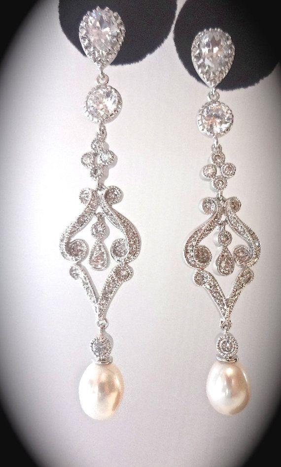 Freshwater pearl earrings Cubic zirconias by QueenMeJewelryLLC
