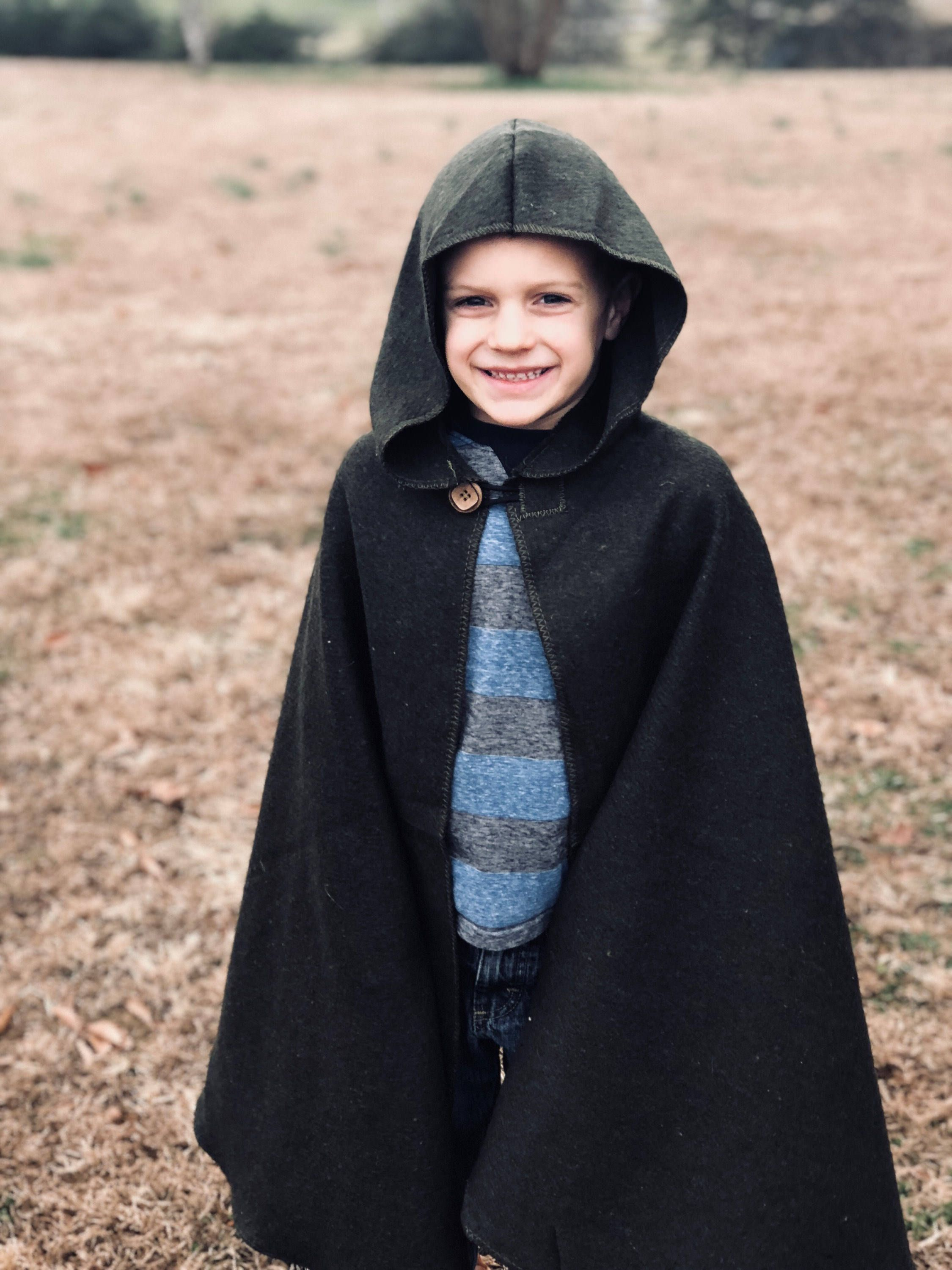 Green Children\'s Hooded Wool Cloak for Kids, Renaissance Fair ...