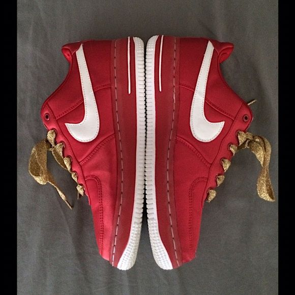 ❤️Nike red satin Air Force 1 sneakers❤️