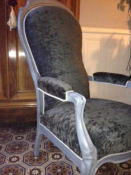 fauteuil louis philippe gris souris