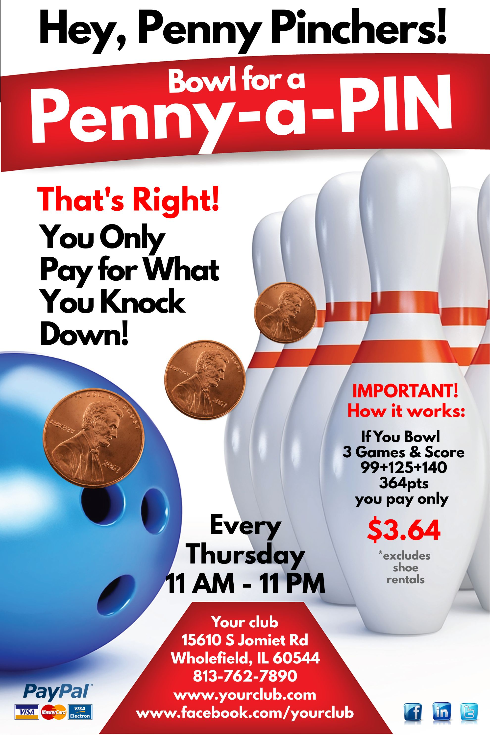 Bowling Tournament Poster Template  Sports Poster Templates