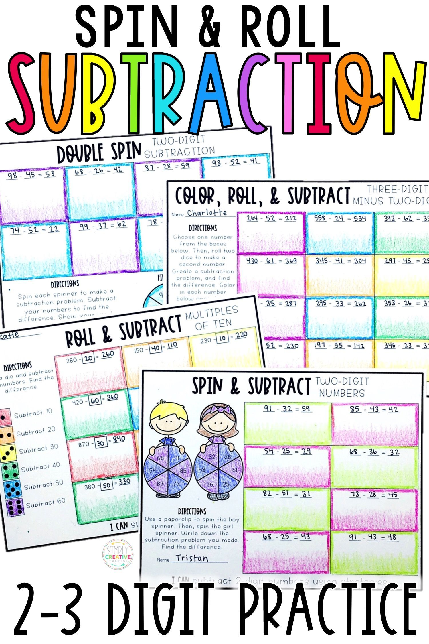 2 3 Digit Subtraction Printables