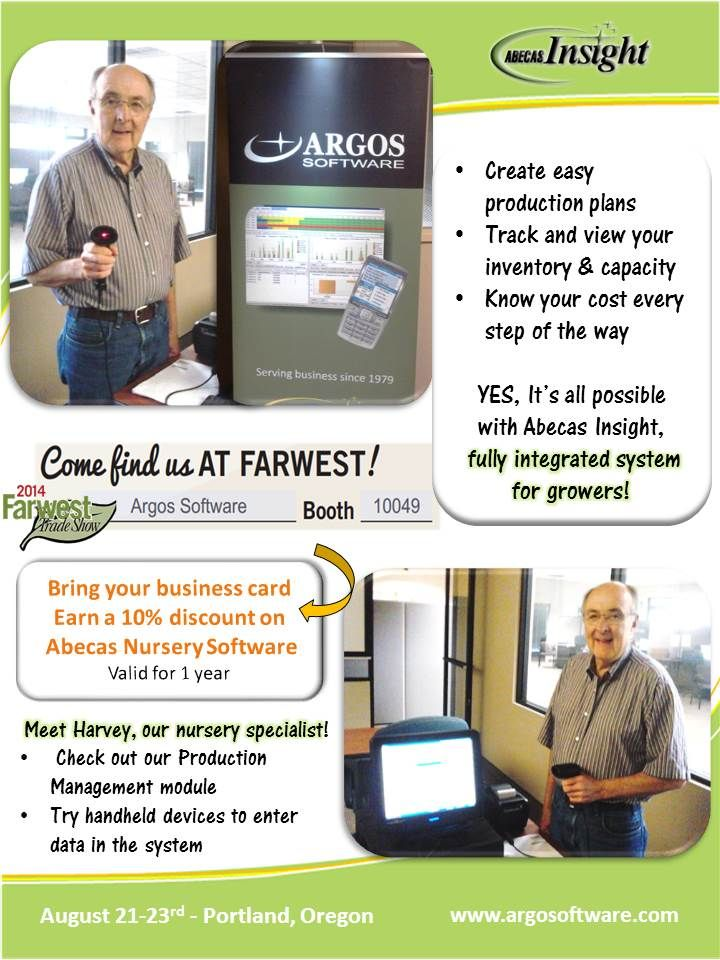 Farwest Show #discount on #abecas #insight #nursery software. Bring your #businesscard earn #10% discount valid for 1 year.