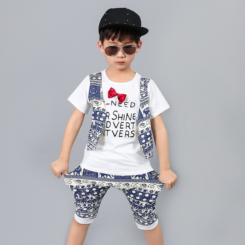 23.09$  Buy here - http://alih7i.shopchina.info/1/go.php?t=32801873586 - fashion 2-13 years little kids summer clothes boys 2017 set printing vest t shirts and knee length pants children clothing sets 23.09$ #buyininternet