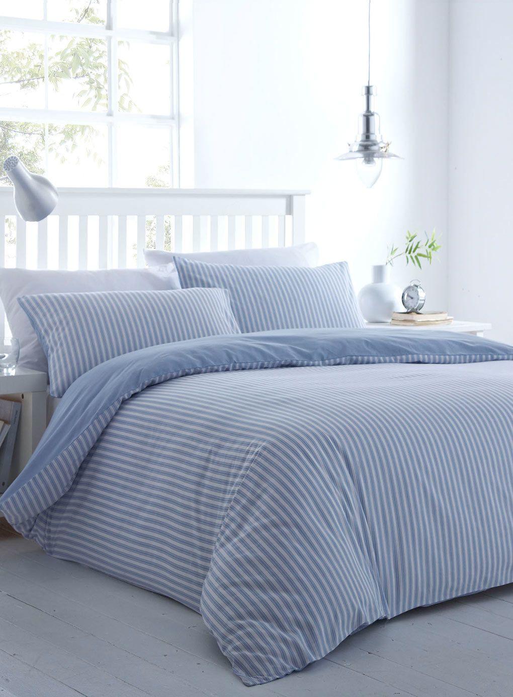 Blue Ticking Stripe Bedding Set Essentials Bedding Sets
