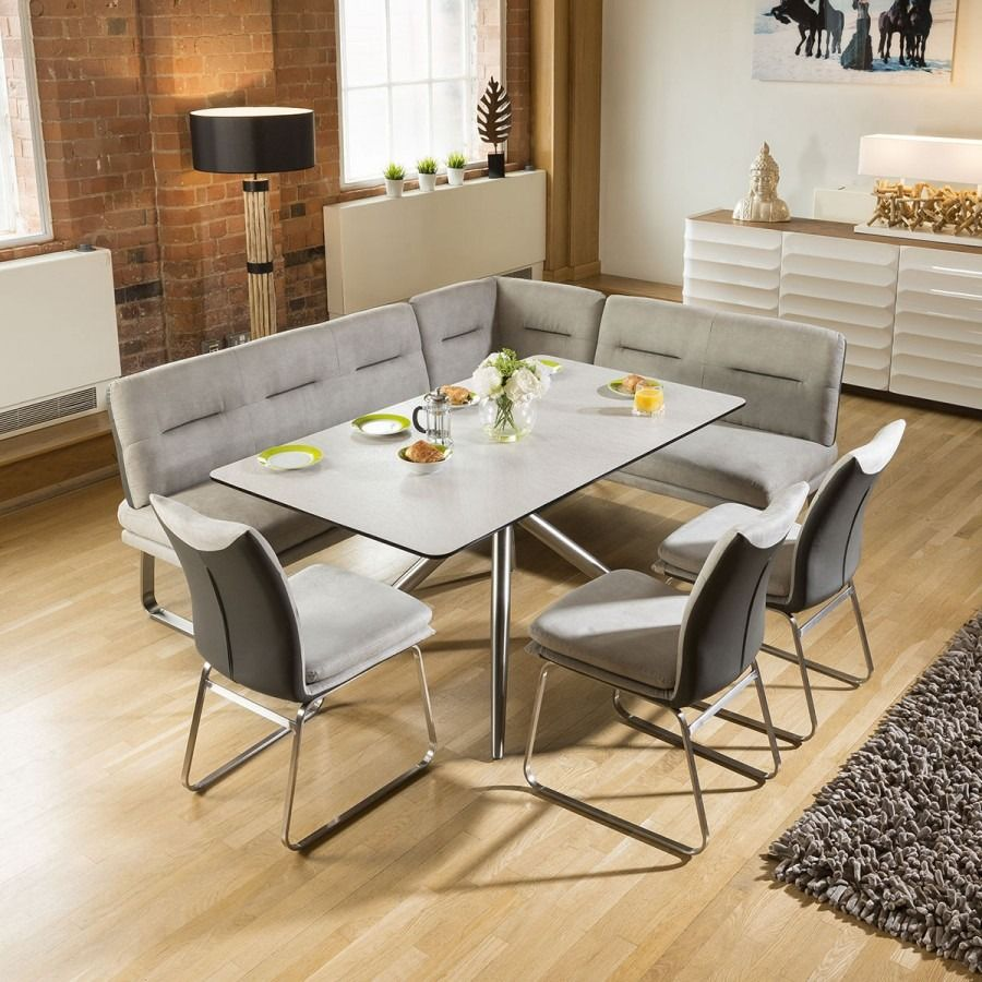 Luxury 7 Seater Grey Booth Right Hand Corner L Bench Chair Dining Set1 Modern Dining Room Set Dining Table With Bench Dining Set With Bench