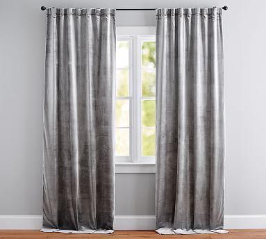 Shiny Velvet Curtain Gray Velvet Curtains Grey Curtains Layered Curtains