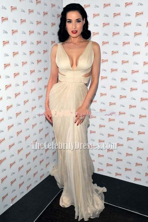 c60f9cf422 Celebrity Dresses Dita von Teese Ivory Prom Dress Formal Evening Gown Red  Carpet - TheCelebrityDresses
