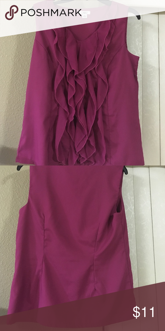 Gently used pink top Very cute ruffle sleeveless pink top Tops Blouses