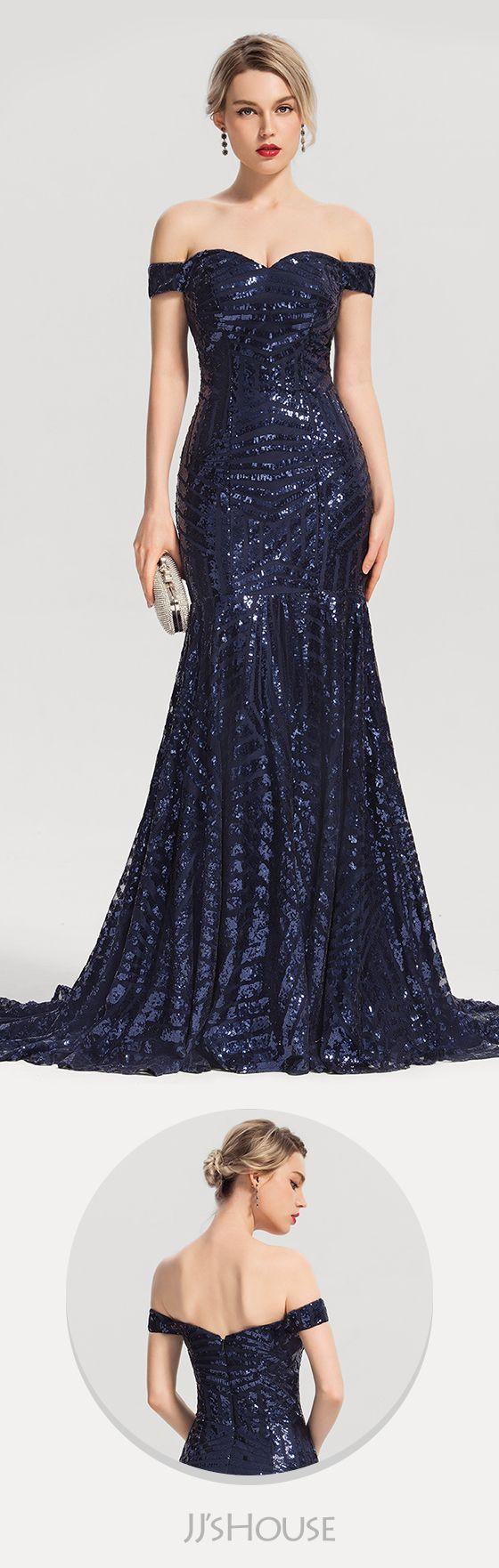07393b36 Trumpet/Mermaid Off-the-Shoulder Sweep Train Sequined Evening Dress # JJsHouse #Evening dresses