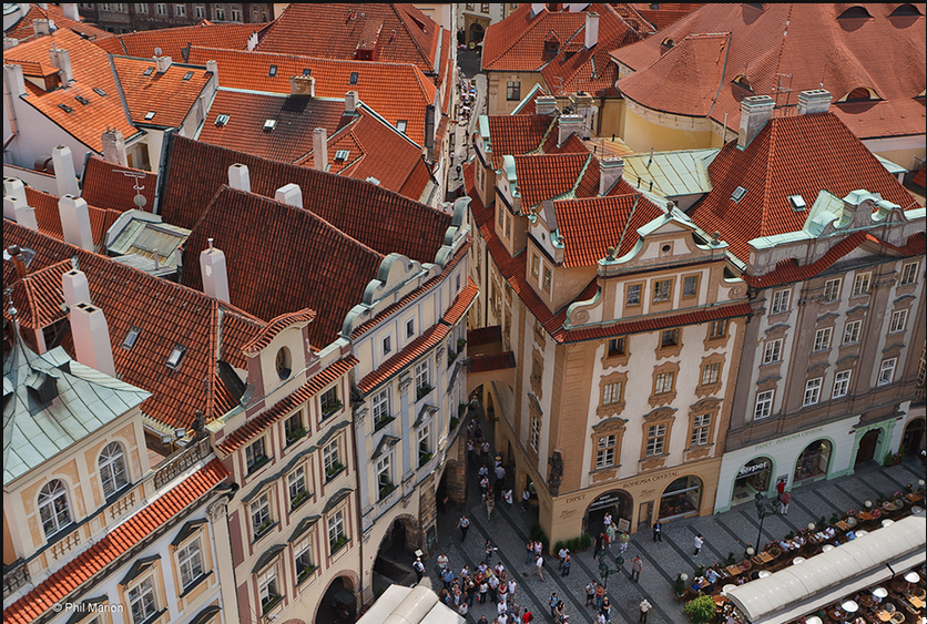 red clay roof tiles in prague