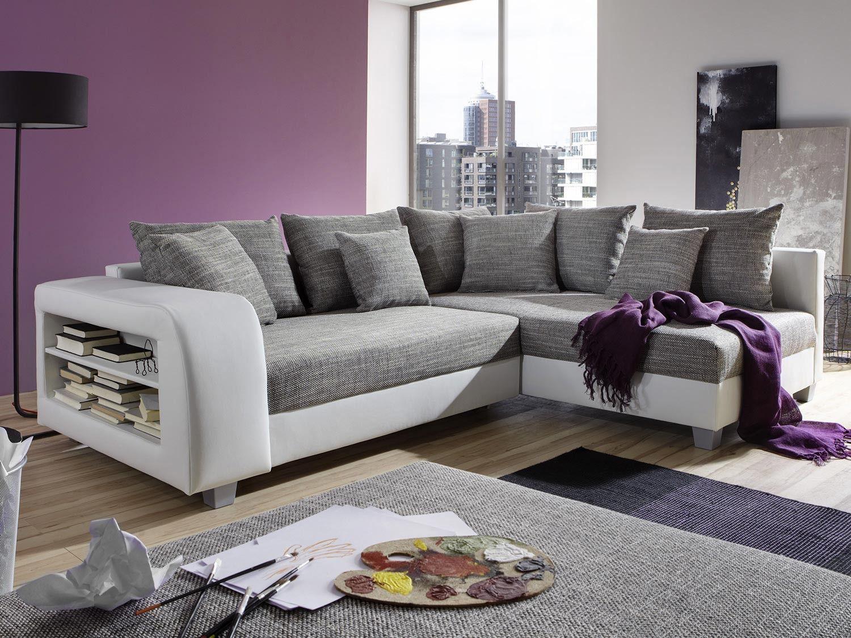 Canape D Angle Convertible Tissu Et Simili Kuopio Gris Et Blanc Angle Droit Furniture Living Room Color Schemes Home Decor
