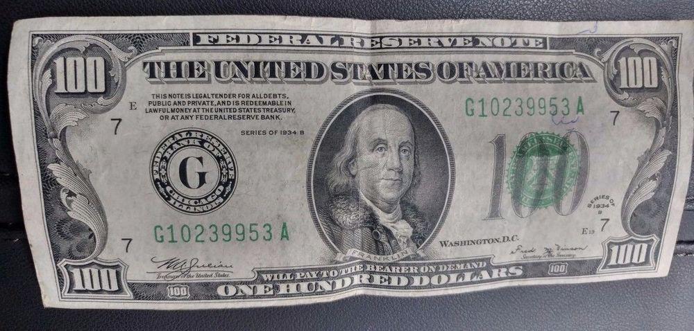 100 dollar 1934 series b Old Vintage Hundred Dollar Bill