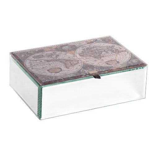 Atlas Mirrored Glass Antique Map Jewelry Box by Mele Co