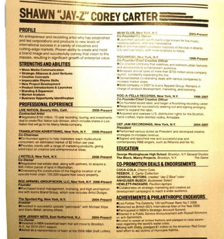 jay z resume Szukaj w Google Great resumes, Resume