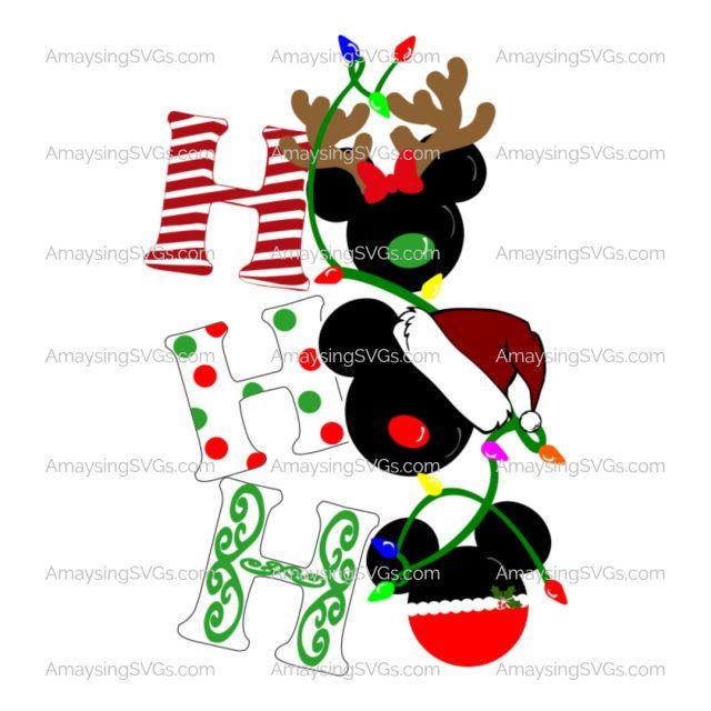 Ho Ho Ho Christmas Mickey Heads Svg