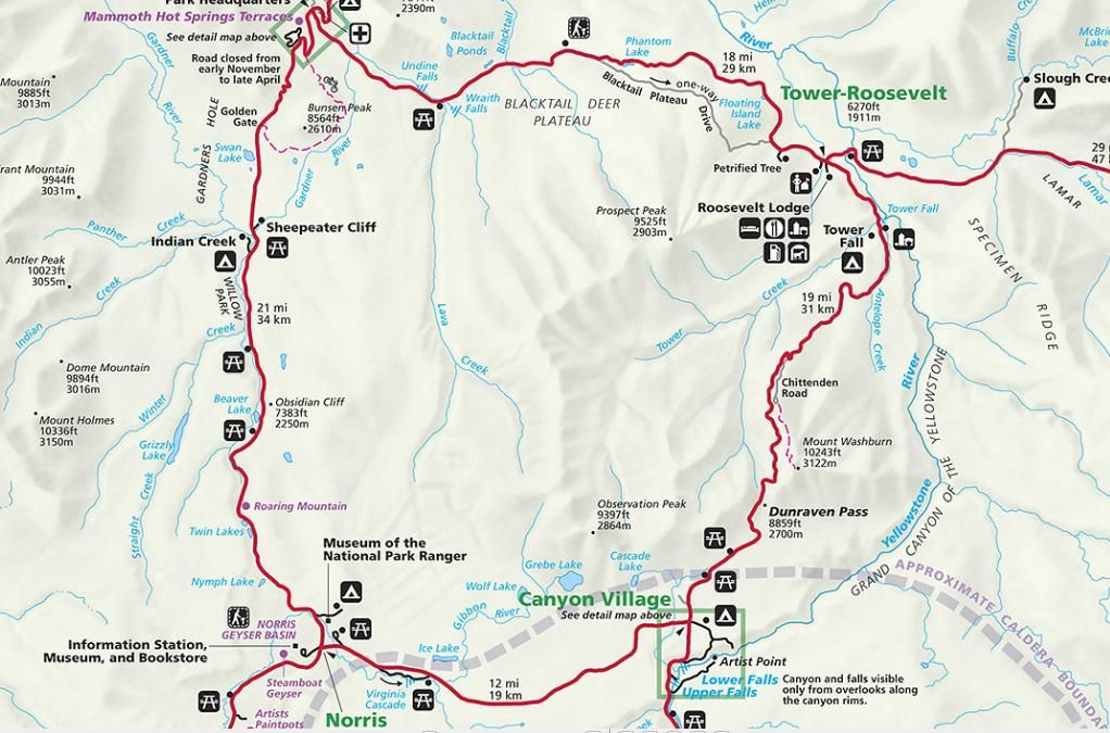 YellowStone North Loop Map | Seattle Roadtrip in 2018 | Pinterest ...