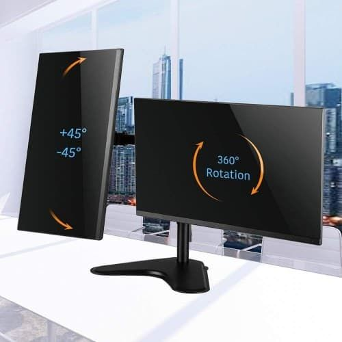 Dual Monitor Stand, Free Standing Height Adjustable Two Arm Monitor Mount