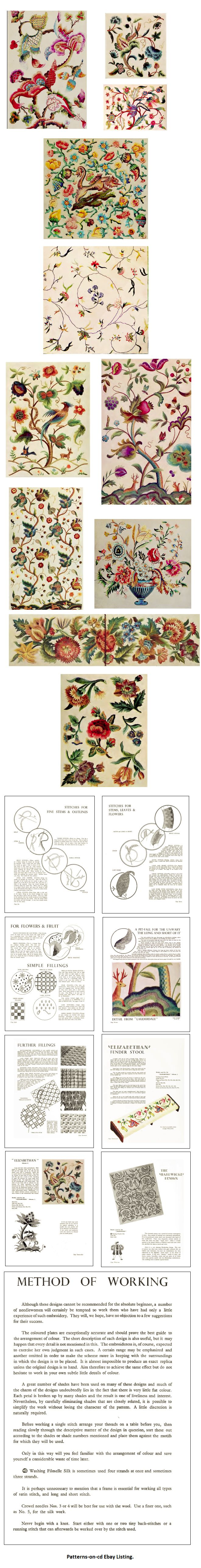Jacobean Hand Embroidery Designs For Floss Thread Embroidery How To