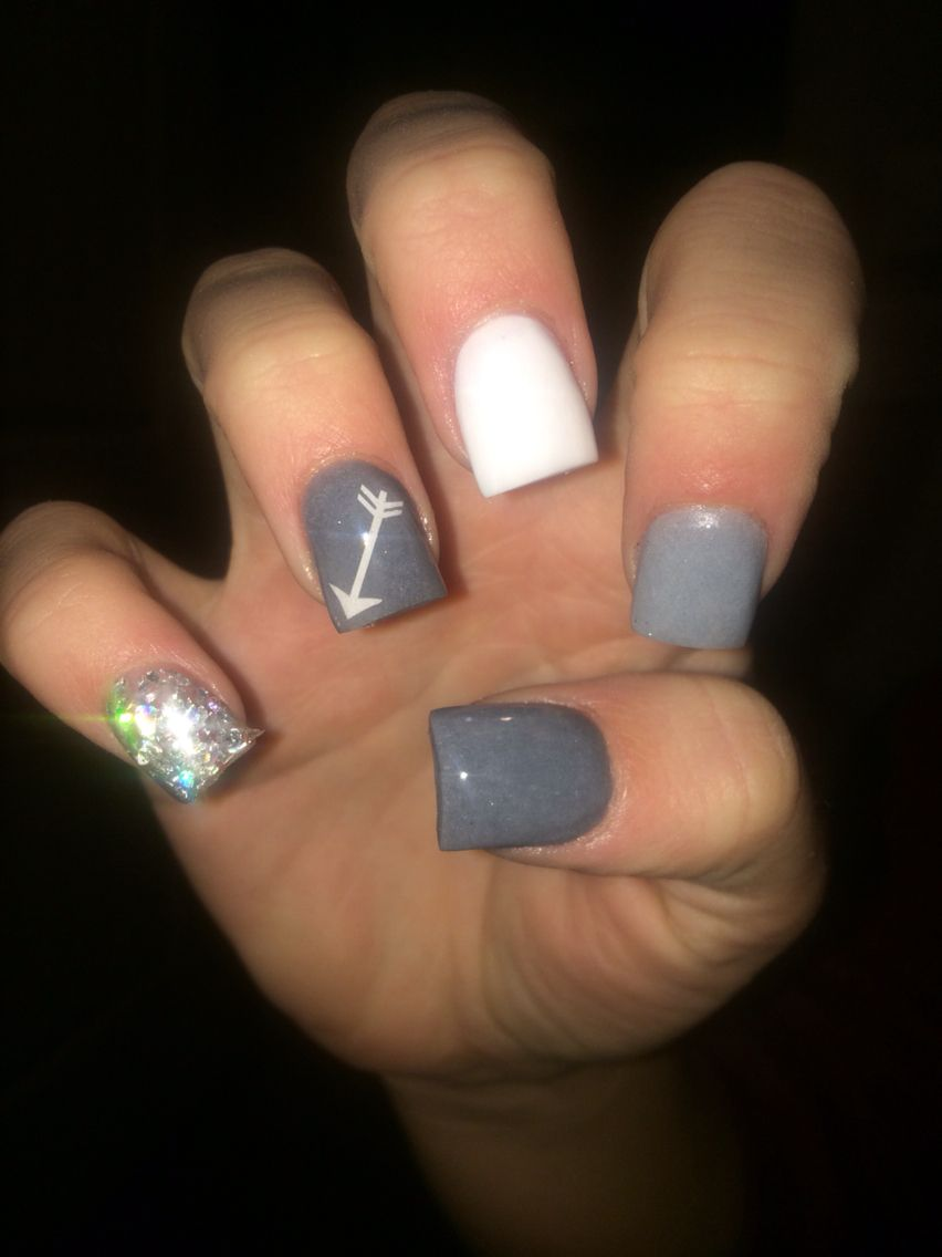 Grey with arrow decal | Nails | Pinterest | Arrow, Gray and Nail nail