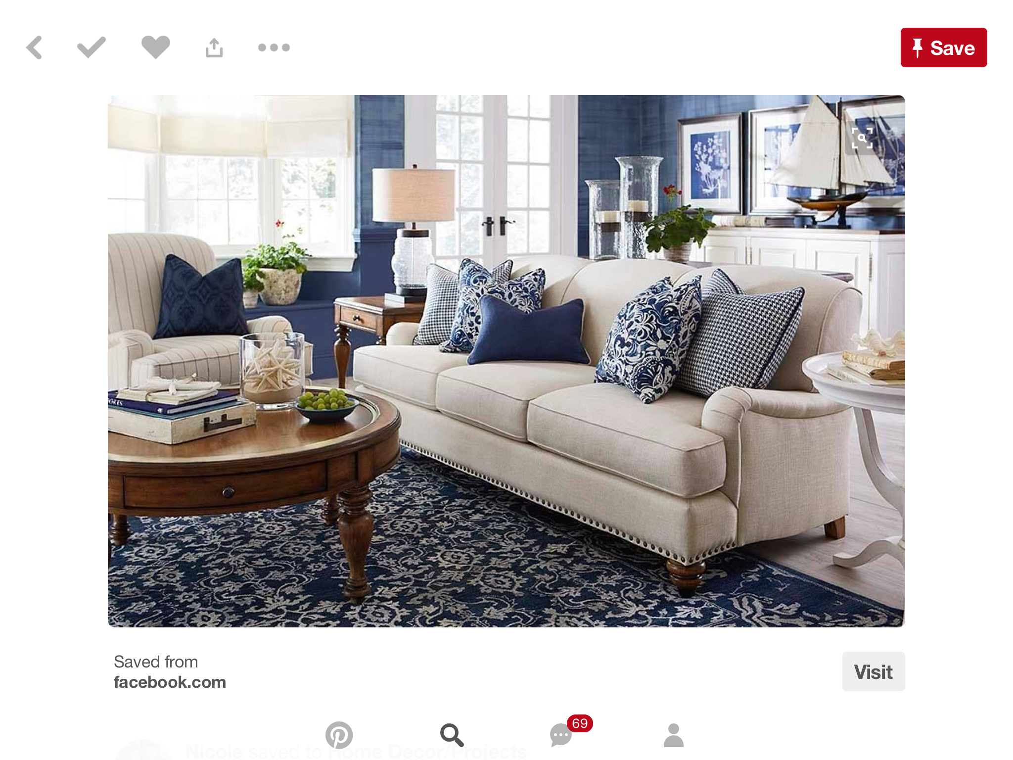STILL NOT SURE I CAN DO JUST CREAM AND NAVY | Blue living ...