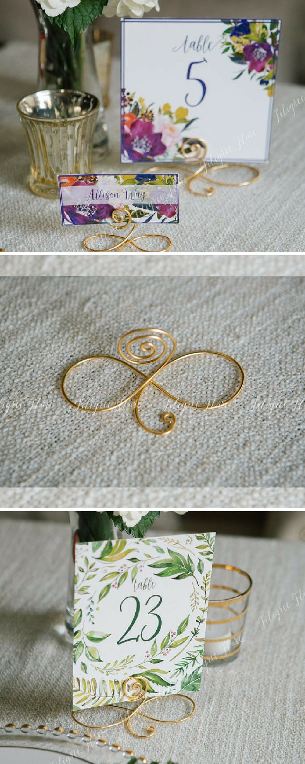 Large Wire infinity Bow table number holders, black, gold and silver ...