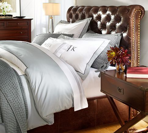 Chesterfield Leather Bed & Headboard | Pottery Barn. Umm, I need to ...