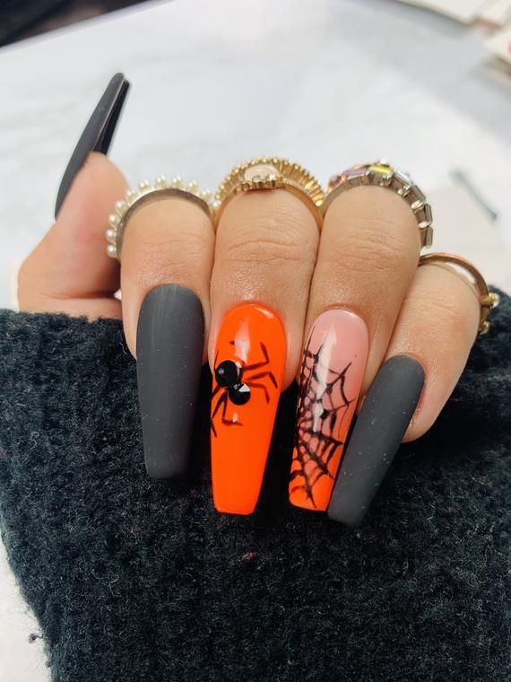 Halloween Inspired Nails | Black Nails | Orange Na